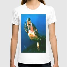 GALAPAGOS Womens Fitted Tee White SMALL