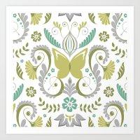 Butterfly Damask - Spring Mod Art Print