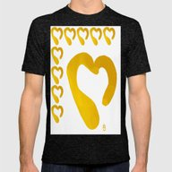 Gold Hearts On White - L… Mens Fitted Tee Tri-Black X-LARGE