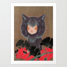 Fox Spirit Kitsune in Gingko Art Print