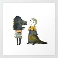 Art Print featuring Dinosaur Fun by Diana Toledano