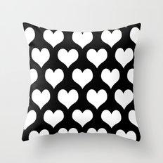 Hearts of Love Black & White Throw Pillow