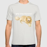 Golden Retriever Mens Fitted Tee Silver SMALL
