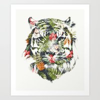 tiger Art Prints featuring Tropical tiger by Robert Farkas