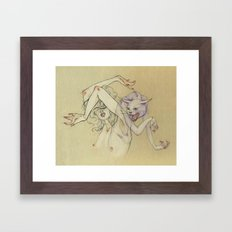 The lady and the wild cat. Framed Art Print