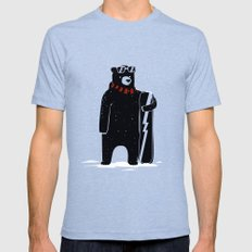 Bear on snowboard Mens Fitted Tee Tri-Blue SMALL