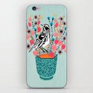 Tea And Flowers - Black … iPhone & iPod Skin