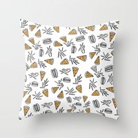 Burgers Pizza And Fries  Throw Pillow