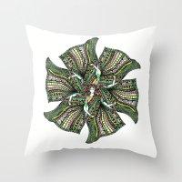 woman with sari mandala Throw Pillow