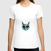 Turquoise Cat Womens Fitted Tee White SMALL