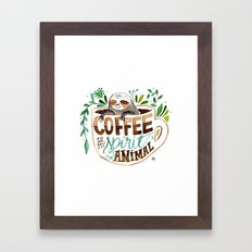 Coffee is my spirit animal Framed Art Print