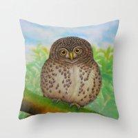 Collared Owlet Throw Pillow