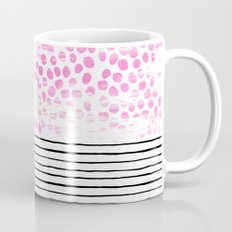 Dot Stripe hot pink black and white minimal abstract painting pattern trendy boho urban bklyn art Mug