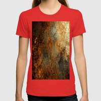 Rust Texture 69 Womens Fitted Tee Red SMALL