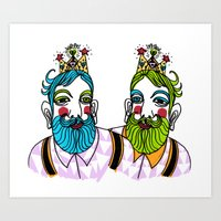 Art Print featuring Crown Beard Twins by Olive Primo Design + Illustration