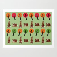Watership Down Rabbits, inspired by El-ahrairah: A rabbit trickster folk hero Art Print