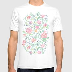 Pixel Flowers Mens Fitted Tee White SMALL
