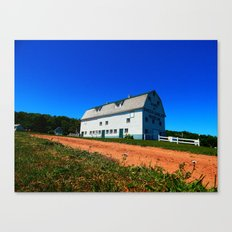 Barn and Red Sands under Blue Skies Canvas Print