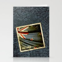 Grunge sticker of New Zealand flag Stationery Cards