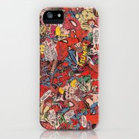 iPhone 5s & iPhone 5 Cases featuring Spiderman comic book collage by vanityfacade
