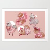 Art Print featuring Pomeranian Dress-up by Lulu H