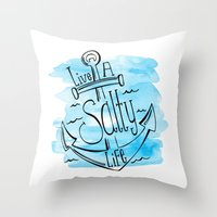 Live A Salty Life - Blue Throw Pillow