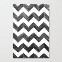 Classic Chevrons In Blac… Canvas Print