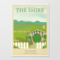 Retro Travel Poster Series - The Lord of the Rings - The Shire Canvas Print