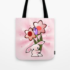 Little Pink Bunny With Flowers Tote Bag