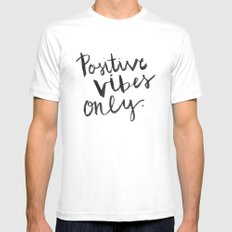 Positive Vibes Only SMALL White Mens Fitted Tee