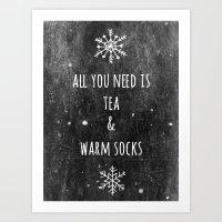 Tea And Socks Art Print