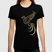 Golden Songbird Womens Fitted Tee Black SMALL