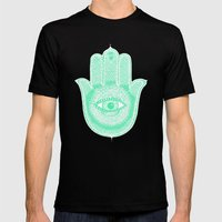 Hamsa lucky green Mens Fitted Tee Black SMALL