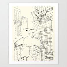 teddy bear vs rabbit Art Print