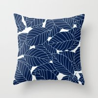 Sweet Leafs:  Navy Throw Pillow