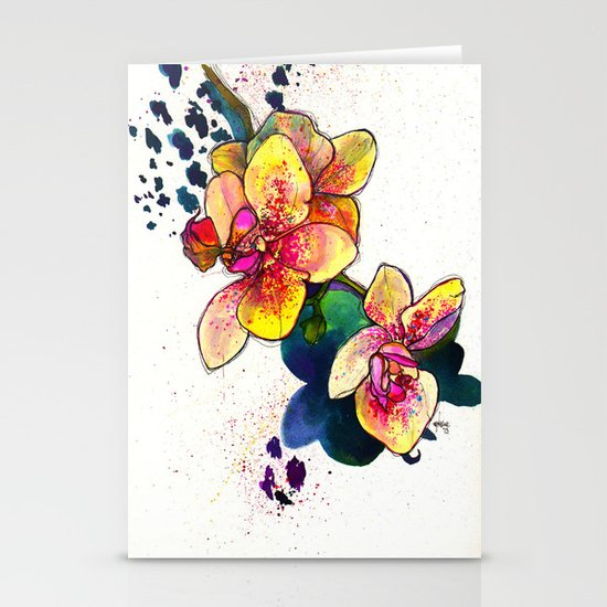 Inky Orchid Stationery Card