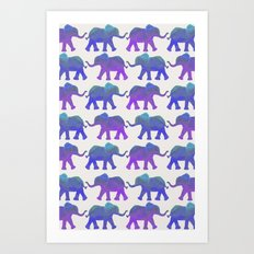 Follow The Leader - Painted Elephants in Royal Blue, Purple, & Mint Art Print