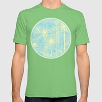 Retro Flowers In Blue An… Mens Fitted Tee Grass SMALL