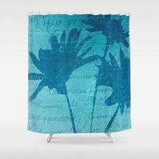 Aqua Blue Flowers Shower Curtain