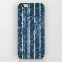 White stripes on grunge textured blue background iPhone & iPod Skin
