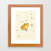 Lonely Winter Fox Framed Art Print