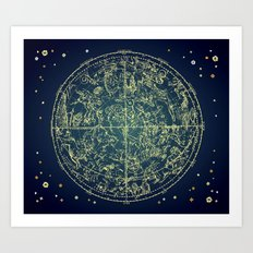 Zodiac Star Map Art Print