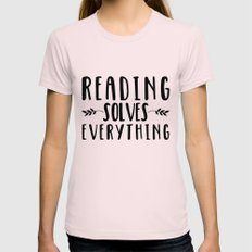 Reading Solves Everything Womens Fitted Tee Light Pink SMALL