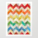 Chevron Rainbow Quilt Art Print