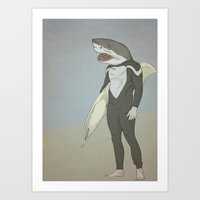 SHARK SURFER Art Print