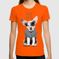 Beware of the dog Womens Fitted Tee Orange SMALL