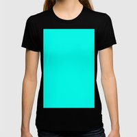 Turquoise blue Womens Fitted Tee Black SMALL