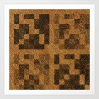 Wood Pixel Blocks Art Print