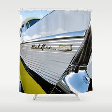 Yellow Classic American Muscle Car Belair  Shower Curtain