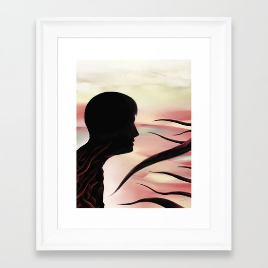 Between monsters Framed Art Print